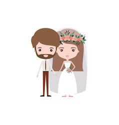 Colorful caricature newly married couple bearded vector