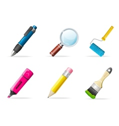 Painting icons brush tools vector