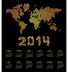 2014 calendar world map vector image