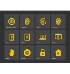 Finger scanner icons vector