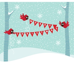 Birds Cardinal hold a Christmas garland vector image