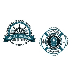 Nautical themed emblems and symbols vector image
