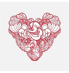 ornamental vintage beautiful heart isolated vector image