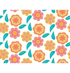 Seamless spring flower pattern on white background vector