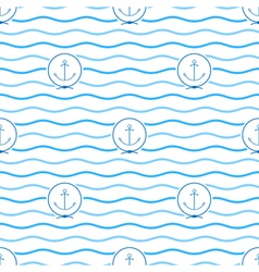Blue anchor seamless pattern vector