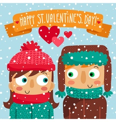 Happy valentines day greeting card with couple vector