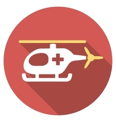 Emergency helicopter flat round icon with long vector