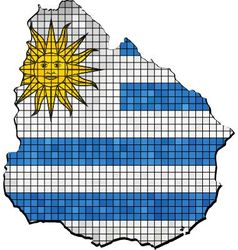 Uruguay map with flag inside vector