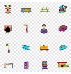 Railroad set icons vector image