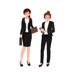 Business woman in costume files and case office vector