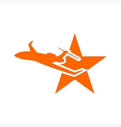 Logo star plane flying vector