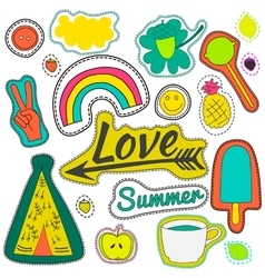 Hippie embroidery neon summer patches collection vector