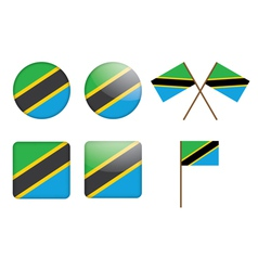 badges with flag of Tanzania vector image vector image