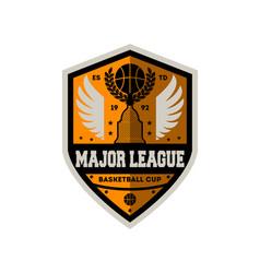 basketball major league cup vintage label vector image