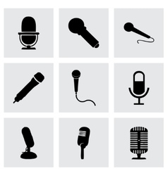 Black microphone icons set vector