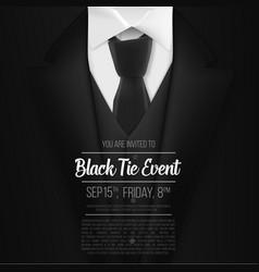 black suit black tie event invitation template vector image vector image