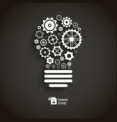 Bulb with gears and cogs vector image