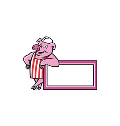 Butcher pig leaning on sign cartoon vector