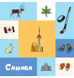 Canada squared concept with doodles vector