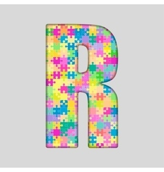 Color piece puzzle jigsaw letter - r vector