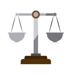 Colorful silhouette of justice scales without vector