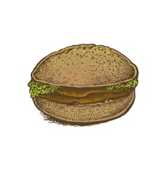 Colorful vintage style hand drawn sandwich vector image