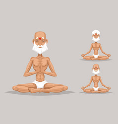 Elderly old yoga master meditation wisdom health vector