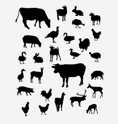 Farm Animal Silhouettes vector image vector image
