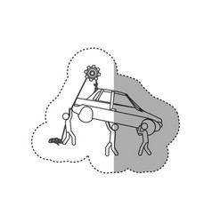 Figure people with pulleys hanging the car vector