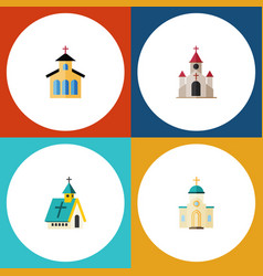 Flat icon church set of catholic traditional vector