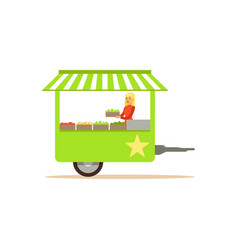 Flat street food cart with fresh food vector