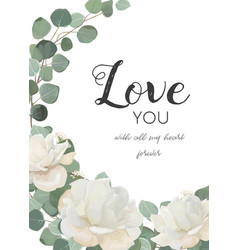 Floral design card white rose powder peony vector