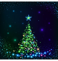 Green shining lights Christmas tree vector image vector image