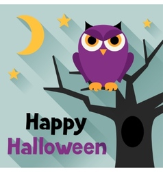 Happy halloween greeting card in flat design style vector image