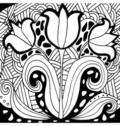 High quality original tulip coloring for adults vector image vector image