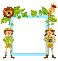 Kids in the jungle vector