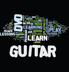 Learn to play guitar dvd text background word vector