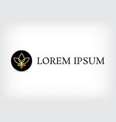 lotus golden line logo circle design template vector image vector image