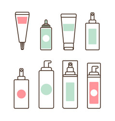 Plastic tubes and bottles with skincare means set vector