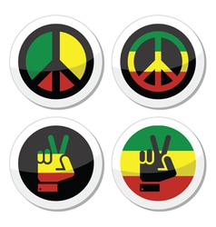 Rasta peace hand gesture icons set vector