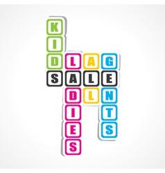 Sale for ladies gents and kids sticker vector