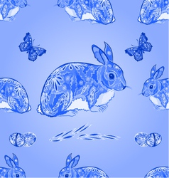 Seamless texture easter blue bunny with butterfly vector image