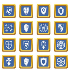 shields set icons set blue vector image