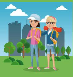 Two girl frinds tourist rucksack cap green field vector