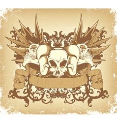 vintage emblem with skulls vector image vector image
