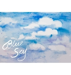 Watercolor blue sky vector