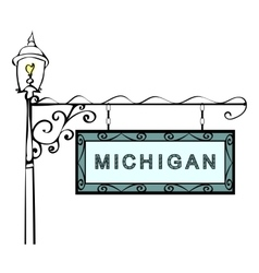 Michigan retro pointer lamppost vector