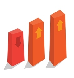 Bar chart with up and down arrows vector