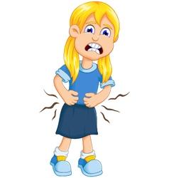 Cute little girl cartoon stomach ache vector