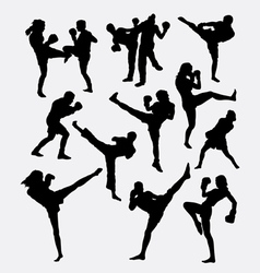 Kick boxing martial art silhouette vector